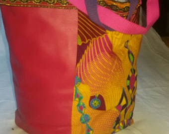 African wax fabric and faux leather bag