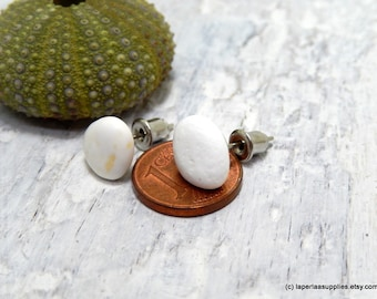 Mermaid Post Earrings - STONES - Organic Sea Pebbles Earrings with white Genuine Natural Amalfi Sea Pebbles / recycle / reuse / nr 152