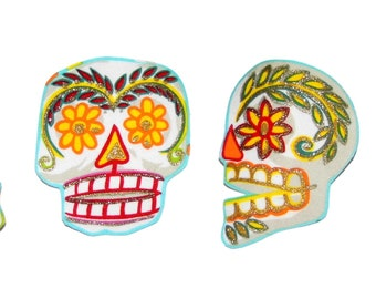 Punk Baby - Skull Patch - Day of the Dead - Sugar Skulls - Skull - Large - Tshirts -  Diy - Iron On Patch -  Set of 4 - No Sew - Fabric