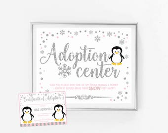 Adoption center sign + certificate, penguin winter onederland first birthday party decoration, pink and silver, instant download printable