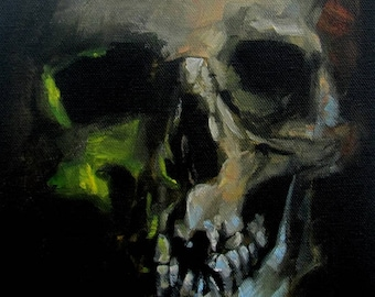 Dark Art Halloween Decor Original Skull Painting by CES - Halloween Painting Smiling Skull Horror Wall Art Macabre Painting Impressionist