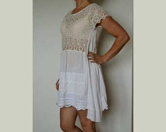 Elegant lace dress, white romantic dress, loose summer dress, artsy unique dress, upcycled clothing, women's dress size M,shabby white dress