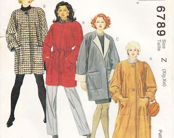 Sz Xlg/XXl - McCall's Coat Pattern 6789 - Misses' Lined or Unlined Oversized Coat in Two Lengths & Tie Belt - Vintage 90's McCall's Patterns