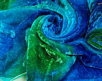 Silk Viscose Velvet hand dyed in turquoise, aqua and green colors 50cm by 50cm
