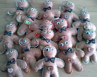 Handsewn felt gingerbread men