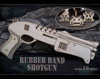 Gamer Gift, Space Invaders Inspired Rubber Band Gun DIY Kit. Shotgun Shoots 10 Rubber Bands! Christmas Gift, Gift For Geeks