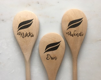 Personalized Wood Burned Wooden Spoon ~ Custom Wooden Utensils ~ Wood Burned Wood Utensils ~ Custon Designed Wood Burned Wooden Utensils