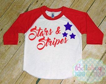 Stars and Stripes Tshirt Raglan - quatrième de juillet - taille 2 à 12 - Baseball Shirt - Independence Day - Amérique