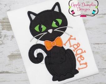 Halloween, Black Cat with Bowtie Applique, Machine Embroidery Design, Boy, Animal, Pumpkin, Trick or Treat, Ghost, 4x4, 5x7 6x