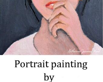 Oil Portrait Painting. Woman Birthday Gift. Original Small Art. Apartment Wall Art Decor.