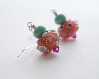 Pink Earrings, Lampwork Earrings, Glass Bead Earrings, Whimsical Earrings, Mint Blue Earrings, Pastel Color Earrings, Abstract Earrings