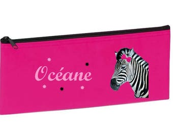 School Kit pink Zebra personalized with name