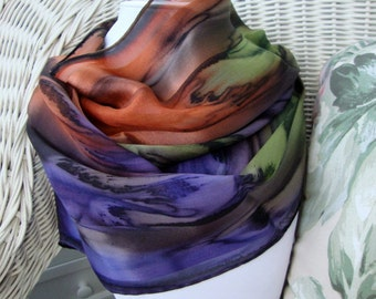 Sedona Sunset Chocolate Eggplant Olive Burnt Orange Hand Dyed Silk Scarf