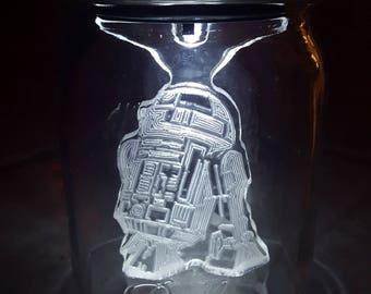 Sol Lights-R2D2 STAR WARS Mason Jar Solar Light,Force Awakens night light, Outdoor Indoor Decoration, Etched Acrylic R2D2 Droid Jar