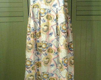 French Country Summer Dress 3/4 Full Length Cotton Sleeveless Scoop Neckline Empire Toile Letters Forget Me Not Blue Flower Pink White