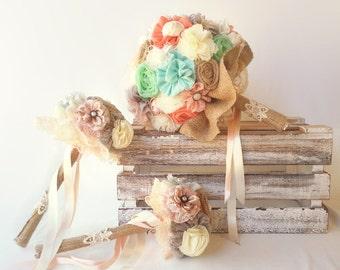 Burlap wedding bouquet set, rustic bridal bouquet, shabby chic bouquet, bridesmaids bouquets