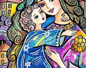 mother child, christian woman folk art, motherhood, feminine decor print 7x10+