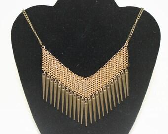 Brass Chevron Necklace with Brass Spikes