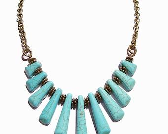 Turquoise Gemstone & Antique Brass Fan Necklace