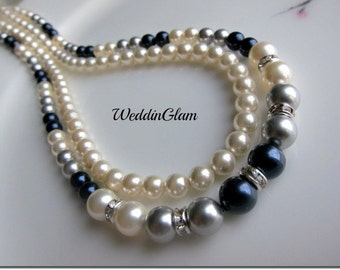 Bridal Multi layers Pearl Necklace Wedding Jewelry Swarovski Silver Grey Ivory Navy Blue Bridesmaid gift Bridal party two layer necklace