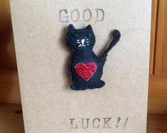 Good Luck Card With Felt Black Cat Brooch -Driving Test - Exam - Handmade