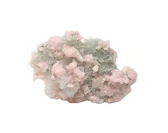Rhodochrosite Orange Pink Crystals on quartz druzy rock Matrix Mineral Specimen Colorado USA Grizzly Bear Mine from an estate geo collection