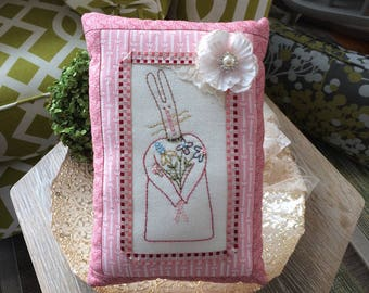 Embroidered Easter Pillow - Easter Embroidery - Pink Easter Pillow - Easter Bunny Pillow