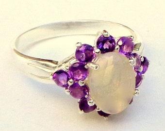 Sz 7, Welo Opal Ring,Natural Gemstone,Semi-Transparent,Genuine Opal Ring,Lavender,Yellow,Blue Color Play Opal,Ethiopian Opal,Amethyst Halo