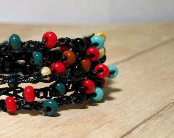 Beaded Wrap Bracelet, Black, Red, Turquoise, Green, Brown, Boho Jewelry, Beaded Wrap Around Bracelet, Southwestern Color Jewelry