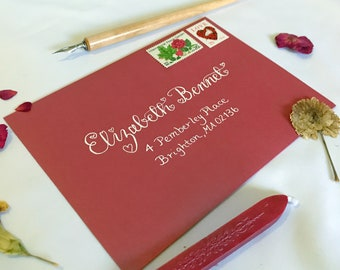 Custom Envelope Calligraphy for Weddings and Special Occasions; Valentina Style
