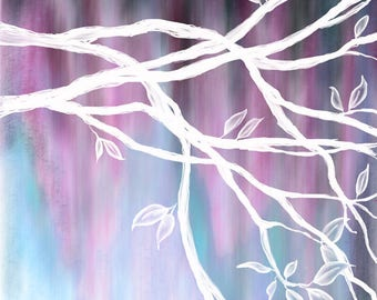 DIGITAL DOWNLOAD - Original tree painting available for digital download - Black, blue, purple & white - high resolution jpg
