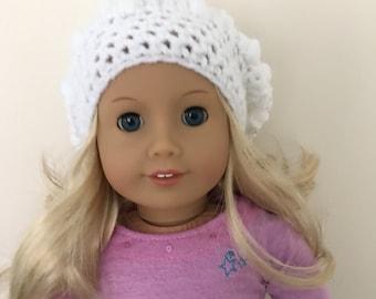 "White doll hat, 18""doll hat, doll slouchy hat, doll hat, doll accessories, crochet doll hat, dolls clothes, cream, (will fit American Girl)"