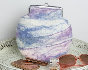 Felted Clutch Purse, Dusk, in Blues and Mauve