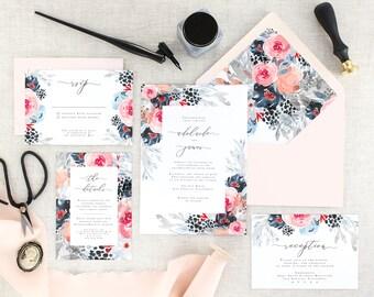 Navy Wedding Invitations Printed - Watercolor Wedding Invites - Floral Wedding Invitation Suite - Pink Wedding Invitation Set - Set of 10