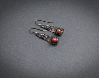Copper earrings Tribal earrings Coral earrings Red coral Mixed metal earrings Hammered jewelry Tribal jewelry Rustic earrings Rustic jewelry