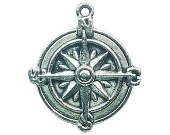 8 Silver Compass Charm Pendant 29x25mm by TIJC SP0774