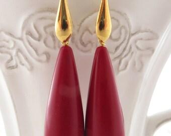 Red drop earrings, dangle earrings, golden sterling silver 925 earrings, italian jewelry, teardrop earrings, wedding jewellery, gift for her
