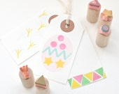 Easter Egg - Decorating Set - Hand Carved - Rubber Stamps - Little Stamp Store - Kids Crafts - fun - Easter - easter crafts - craft ideas