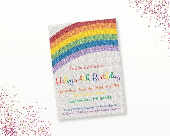 Printable Rainbow Birthday Invitations ~ Glitter rainbow party invitation sparkle rainbow birthday