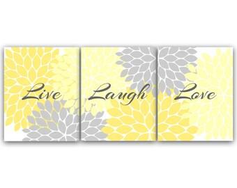 CANVAS and PRINTS Home Decor Wall Art, Live Laugh Love, Yellow Wall Art, Flower Burst Bathroom Decor, Yellow Grey Bedroom Wall Art - HOME54