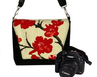 Digital Slr Camera Bag DSLR Camera Bag Purse Womens Camera Bag Case Zipper, Lens Pockets, Padded Asian Cherry Blossom MTO