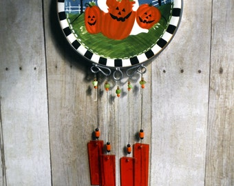Halloween Whimsy, Casper the Friendly Ghost in a Pumpkin Patch, Upcycled Collectible Plate, Wind Chime, Handmade Stained Glass Chimes