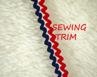 1 YARD, 1950s Vintage, SEWING TRIM, Red White Blue 1/2 Inch, Double Rick Rack Stripes, L155