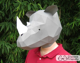 Rhino Mask - PDF Pattern | Rhinoceros Mask | Animal Mask | Printable Mask | Papercraft Pattern