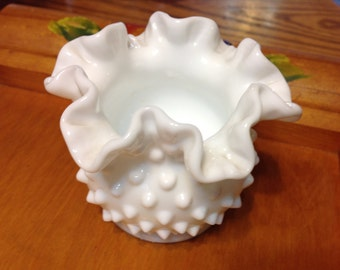 Vintage Hobnail Milk Glass Small Vase 1950