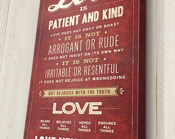 Love Never Fails Sign, Love is Patient Sign, Bible Verse Sign, Scripture Wall Art, 1 Corinthians 13:4-8, Canvas Gallery Wrap
