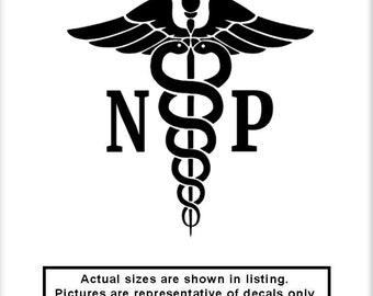 Caduceus NP v3 Vinyl Decal Nurse Practitioner Doctor OR Hospital Medical