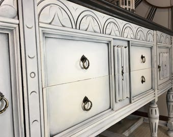 Shabby Chic Antique Jacobean Buffet Sideboard Server