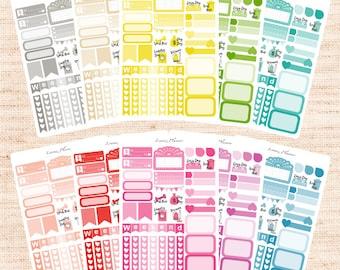 One Color Sampler sheet (matte planner sticker, Erin Condren, Happy Planner, Filofax, Kikki K, Personal)