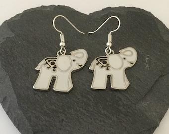 White elephant earrings / elephant jewellery / elephant gift / animal earrings / animal jewellery / animal lover gift